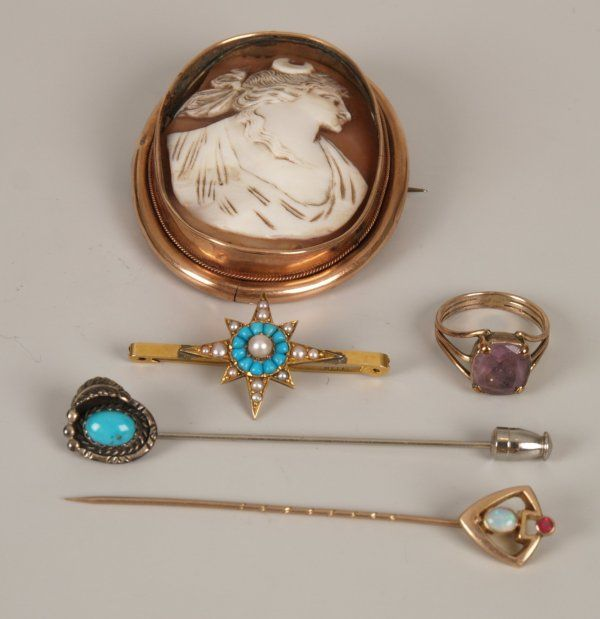 473: Five items, to include an amethyst set ring (with