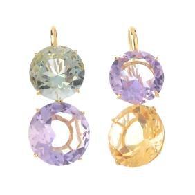 A pair of quartz earrings. Each designed as two