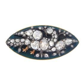 A diamond and enamel brooch. The rose-cut diamond bird,