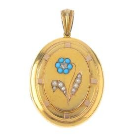 A late Victorian gold, diamond and gem-set locket. Of