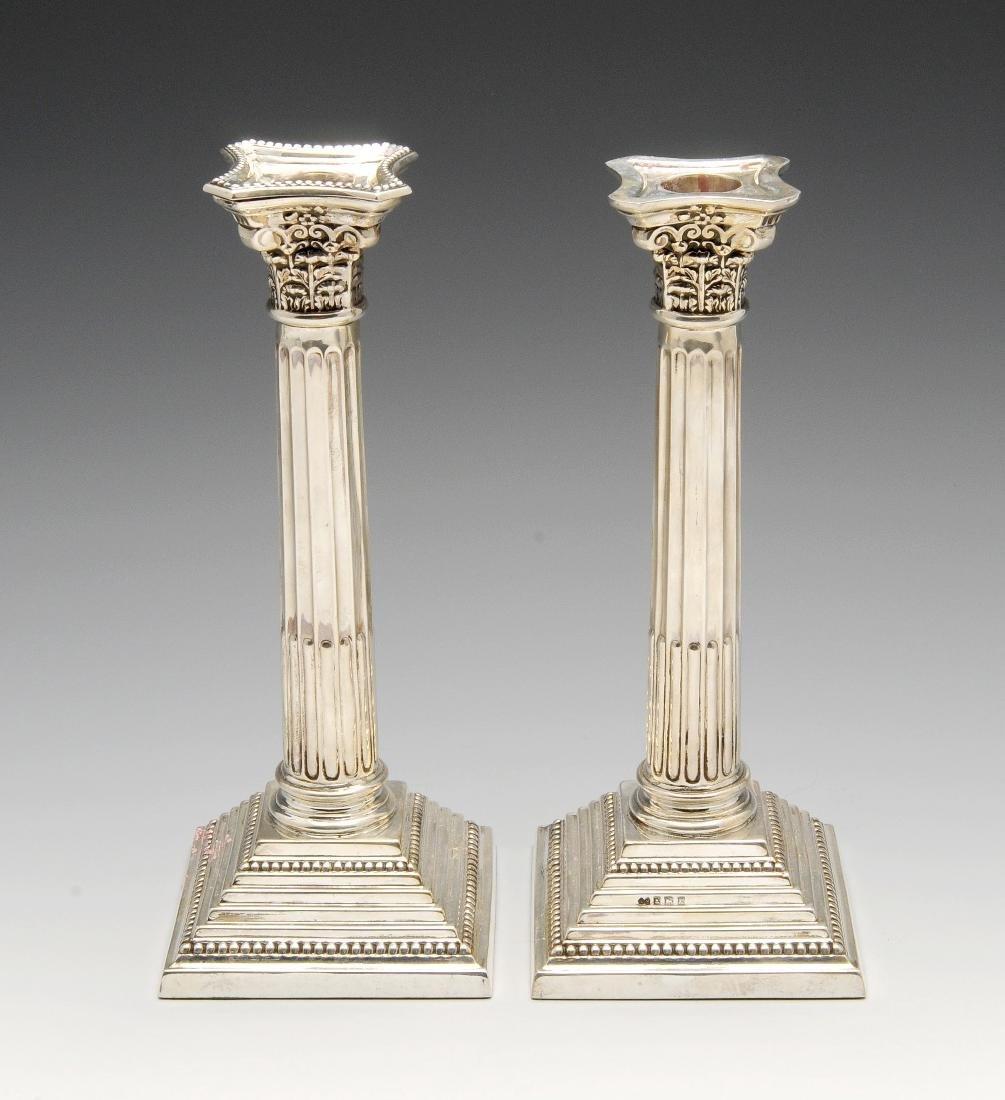 A pair of modern silver mounted Corinthian
