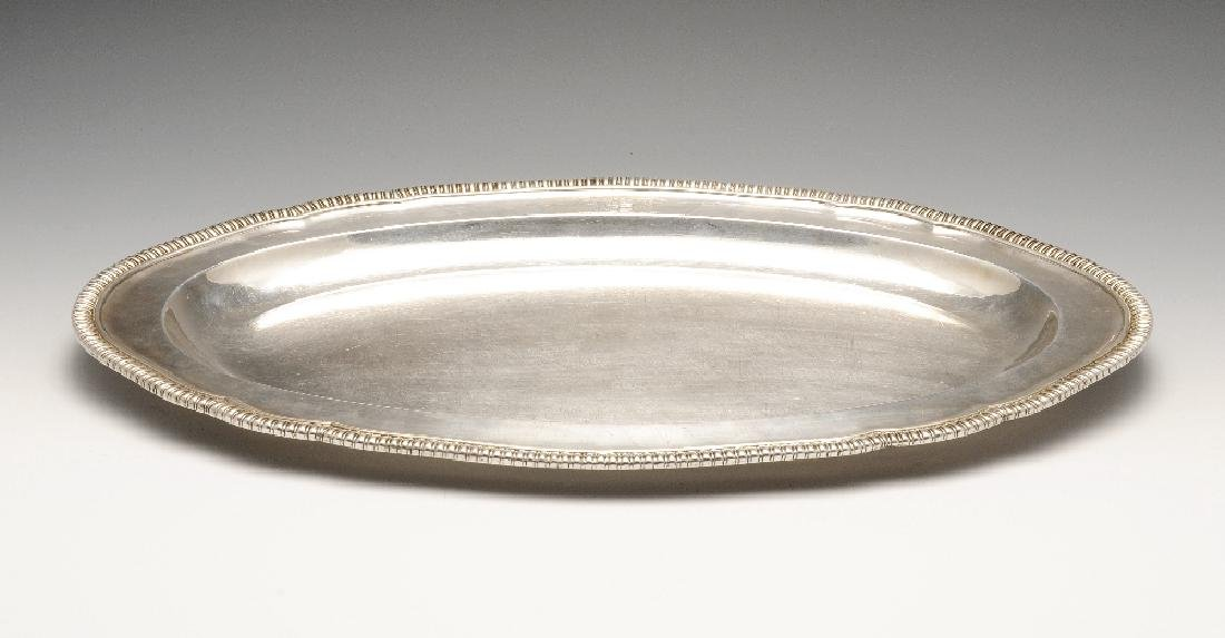 A George III silver meat dish by Paul Storr, of oval