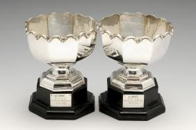 A pair of 1930's small silver trophy bowls, the