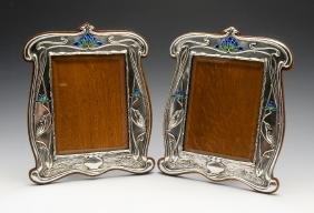 A large pair of Art Nouveau silver mounted photograph