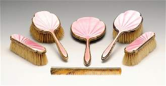 A 1930s silver mounted six part dressing table set