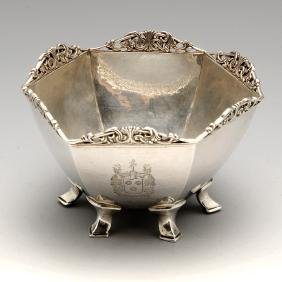 A 1930's silver bowl by Omar Ramsden of hexagonal hand