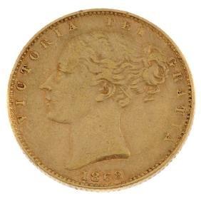 Victoria, Sovereign 1868, young head, rev. shield, die