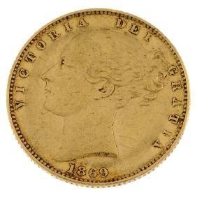 Victoria, Sovereign 1869, young head, rev. shield, die