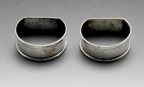 A pair of 1940's silver napkin rings, of plain