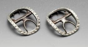 A pair of Georgian Irish silver mounted buckles, the