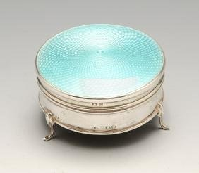 A 1920's silver mounted jewellery or trinket box, the