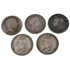 George III to Victoria Crowns (5) 1819, 1821, 1889,