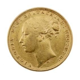 Victoria, Sovereign 1875M, young head. Very fine.
