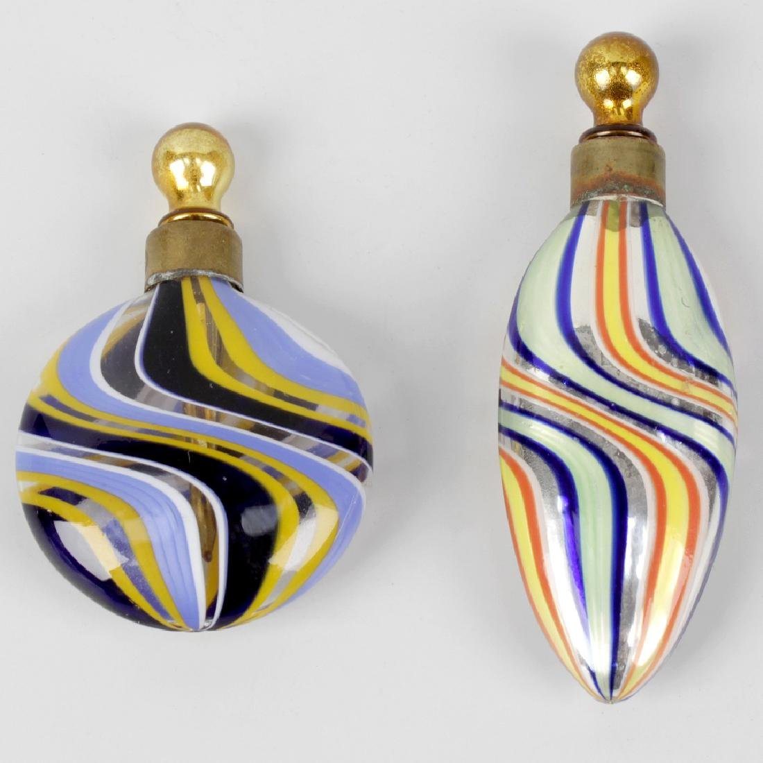 Two early 20th century glass scent phials, each with