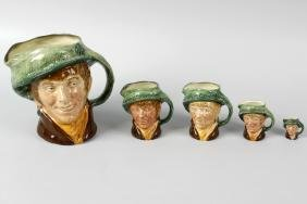 A large group of Royal Doulton character jugs.