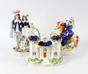 A group of Staffordshire pottery figures. To include