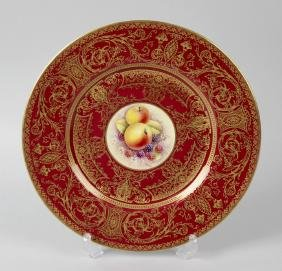 A Royal Worcester porcelain fruit-painted plate by