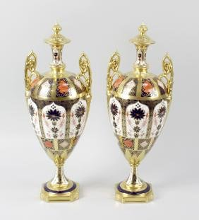 An impressive boxed pair of Royal Crown Derby porcelain