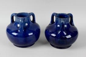 A pair of Japanese Awaji Art Nouveau pottery vases,