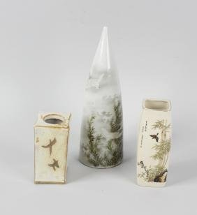 Three Japanese porcelain vases. Comprising a wall