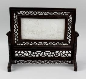 A 19th century Chinese wooden table screen of pierced