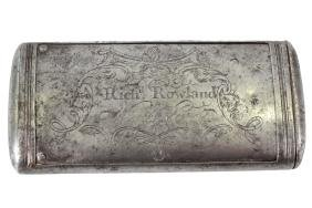 A mid 18th century steel boot powderer, the inner case