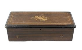 A Swiss inlaid rosewood cylinder musical box. The