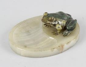 An Austrian cold-painted bronze model of a frog. In the