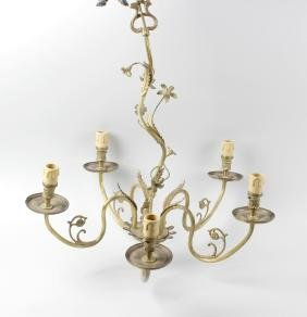 A box containing a gilt metal five branch chandelier