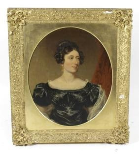 An early Victorian oval portrait of a lady, depicted