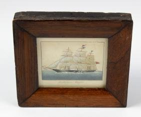 A 19th century painted sand picture, study of a sailing