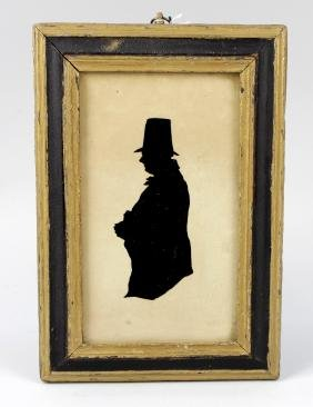 A Victorian framed silhouette painted upon glass panel,