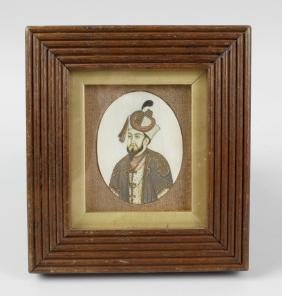 A 19th century Moghul oval portrait miniature upon