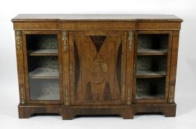 A late 19th century inlaid walnut breakfront credenza.