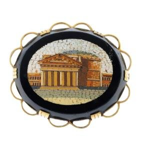 A micro mosaic brooch. The late 19th century mosaic,
