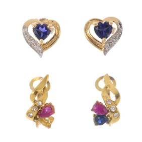 Two pairs of gem-set earrings and a pendant. To include