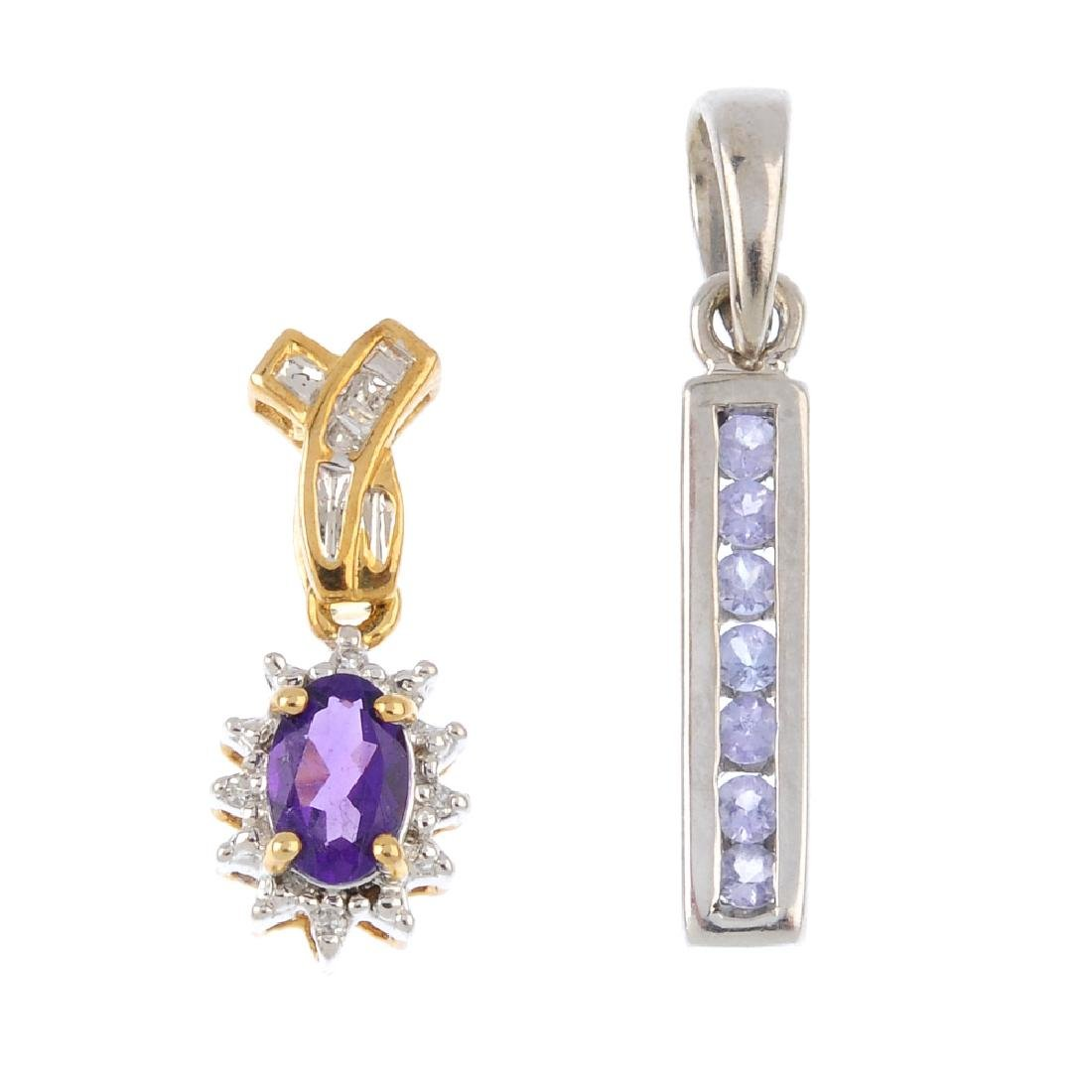 A tanzanite necklace and two 9ct gold diamond and