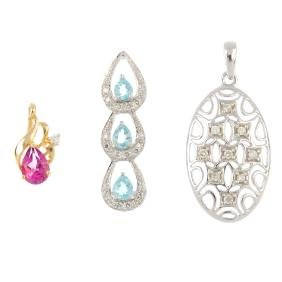 Three gem-set and diamond pendants. To include a 9ct