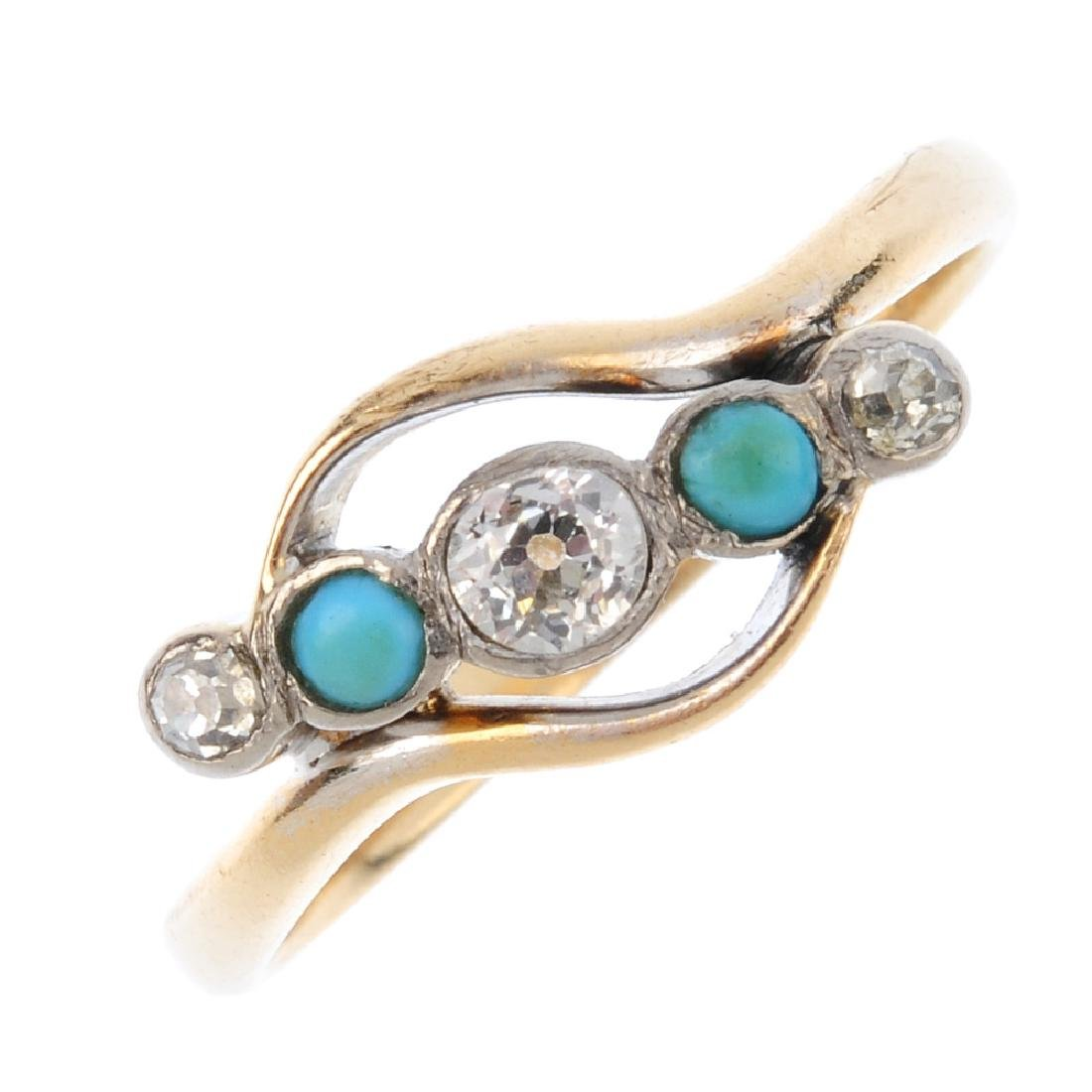 A mid 20th century turquoise and diamond five-stone