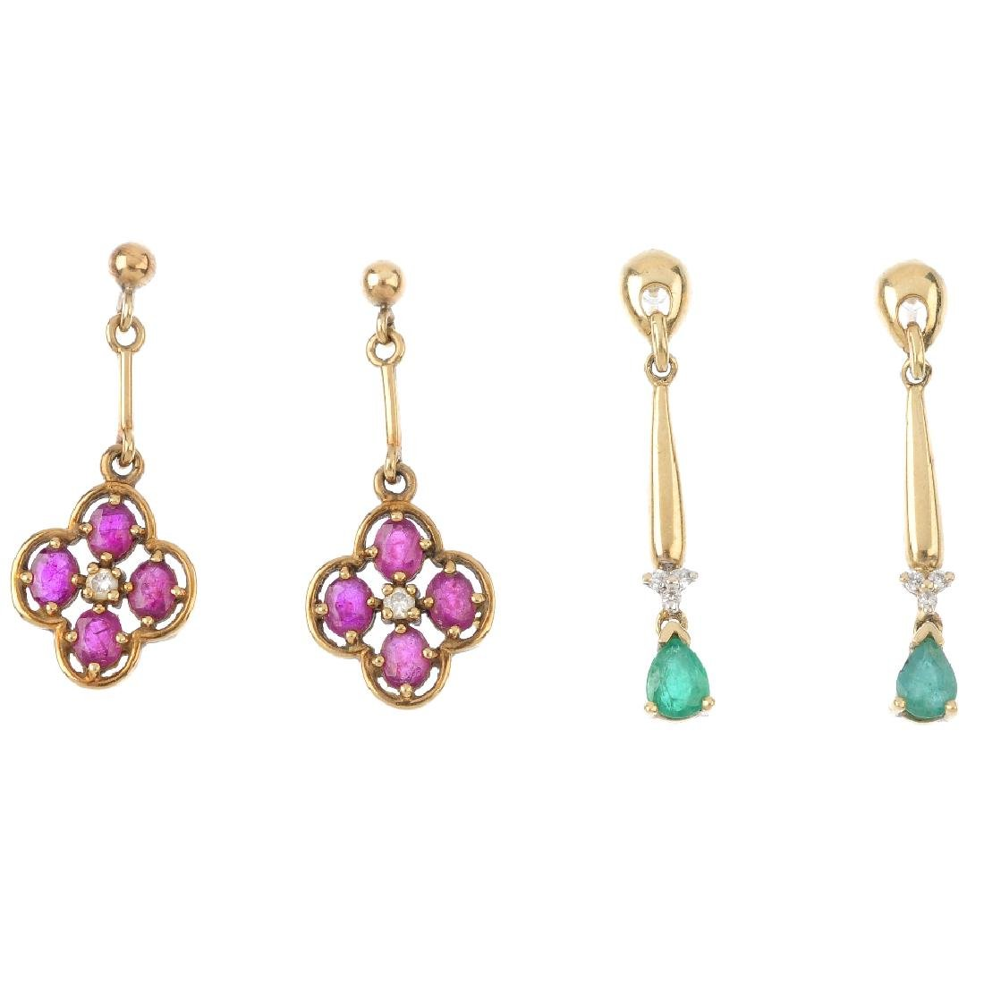 Four pairs of earrings. To include a pair of 9ct gold