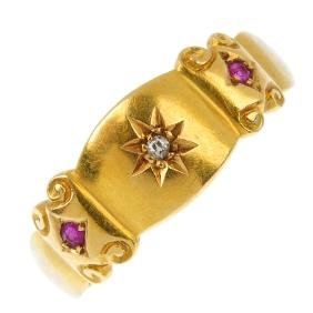 An Edwardian 18ct gold gold ruby and diamond ring. The