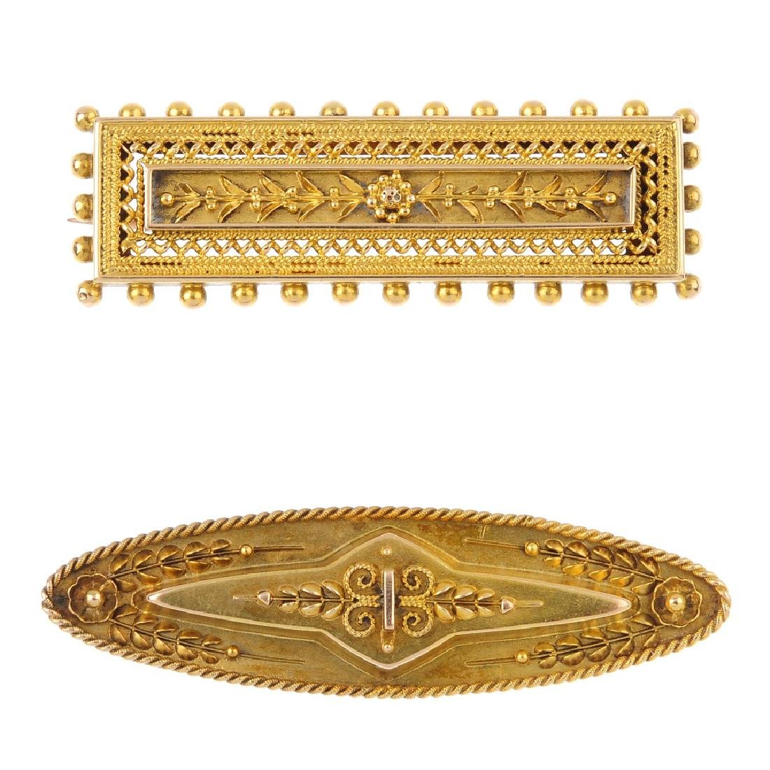 Two late Victorian 15ct gold brooches. Of rectangular