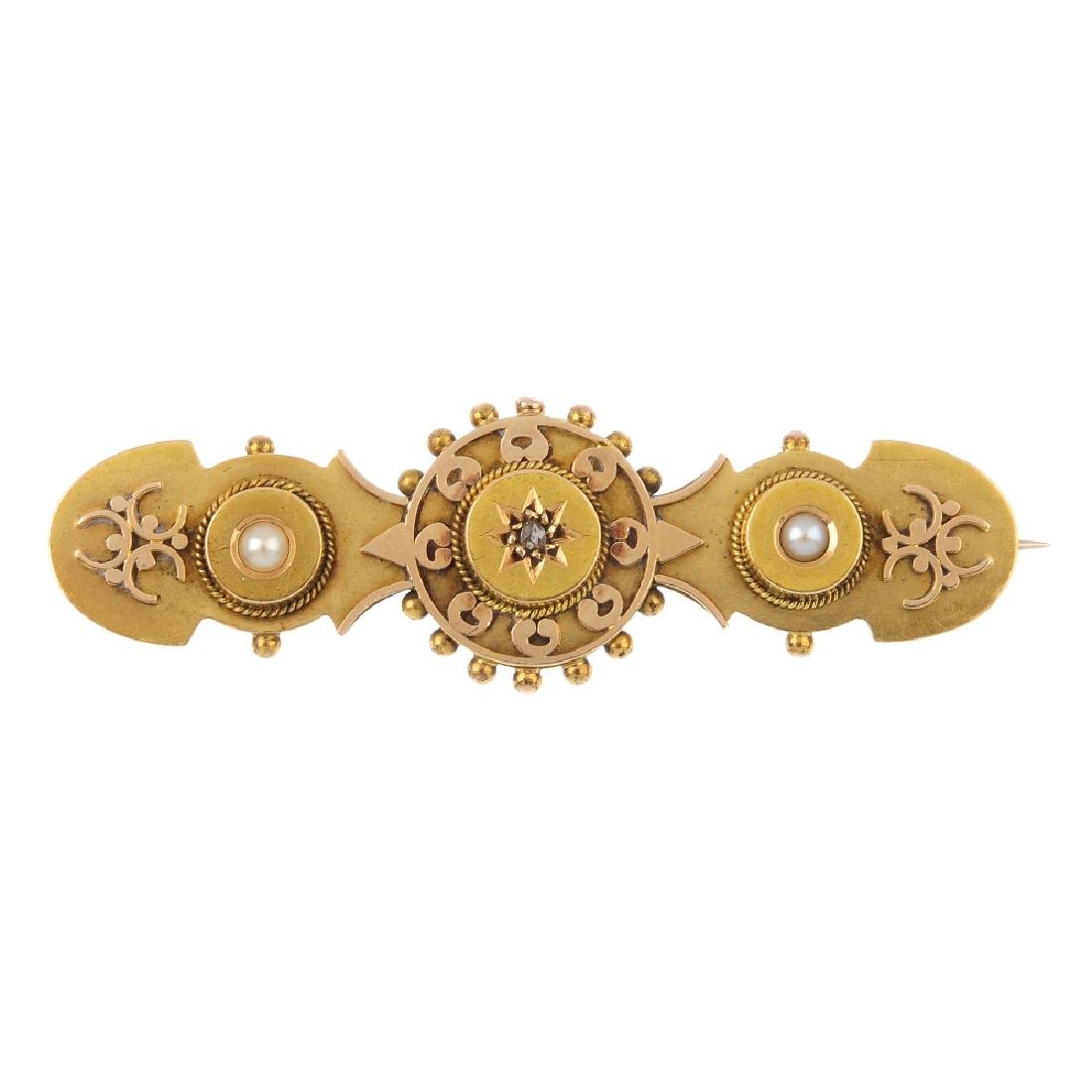 A late Victorian diamond and split-pearl brooch.