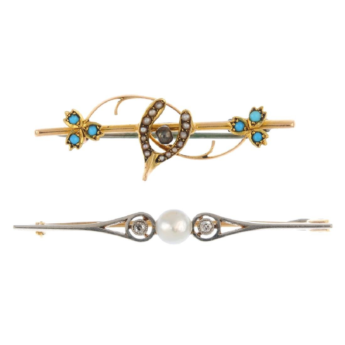 Two diamond and gem-set brooches. To include an early