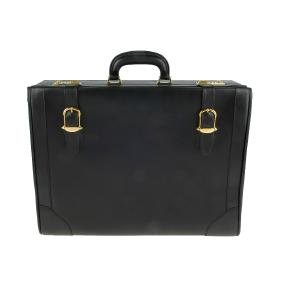 GUCCI - a black leather briefcase. Designed with two