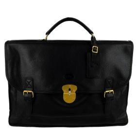 LONGCHAMP - a black leather briefcase. Designed with