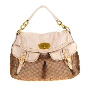 MIU MIU - a woven turn-lock hobo handbag. Designed with