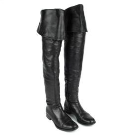 PRADA - a pair of black leather thigh-high boots.