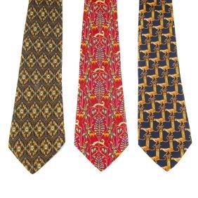 SALVATORE FERRAGAMO - three silk ties. To include a