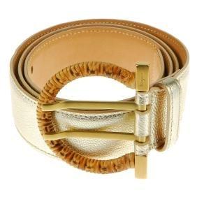 SALVATORE FERRAGAMO - a metallic leather belt.